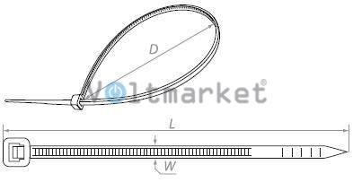 Стяжка кабельная нейлоновая RUCELF NCT-200x2.5