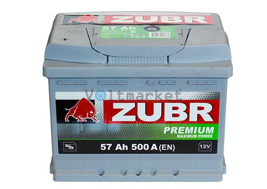 Автомобильная стартерная батарея ZUBR 6СТ-57 500А PREMIUM L+