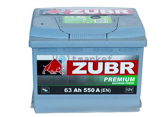 Автомобильная стартерная батарея ZUBR 6СТ-63 550А PREMIUM L+