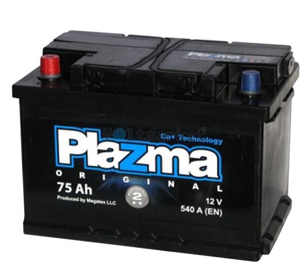 Аккумулятор стартерный Plazma Original 6СТ-75 575 62 02 L+
