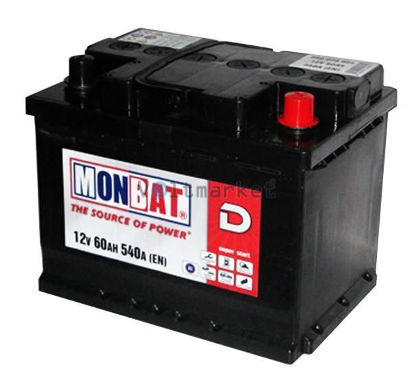 Аккумулятор стартерный MONBAT 6СТ-60 560 70 04 MF R+