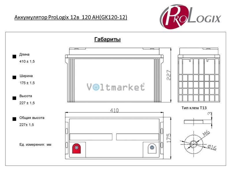 Аккумуляторные батареи Prologix GK-120-12