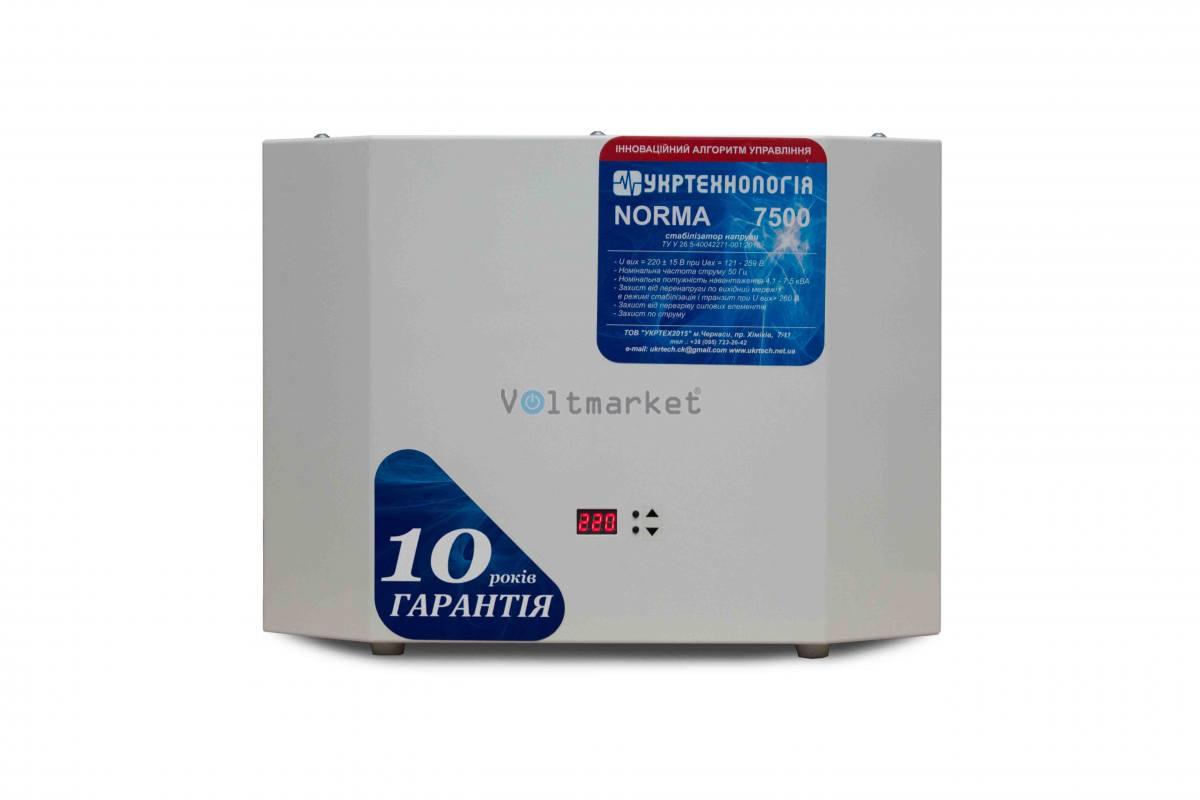однофазный стабилизатор напряжения Укртехнология NORMA 7500