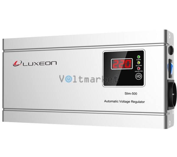 Релейный однофазный стабилизатор напряжения LUXEON SLIM 500