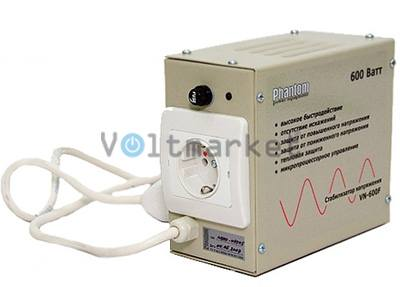 Релейный однофазный стабилизатор напряжения  PHANTOM VN-600 (модель VN-600 F)