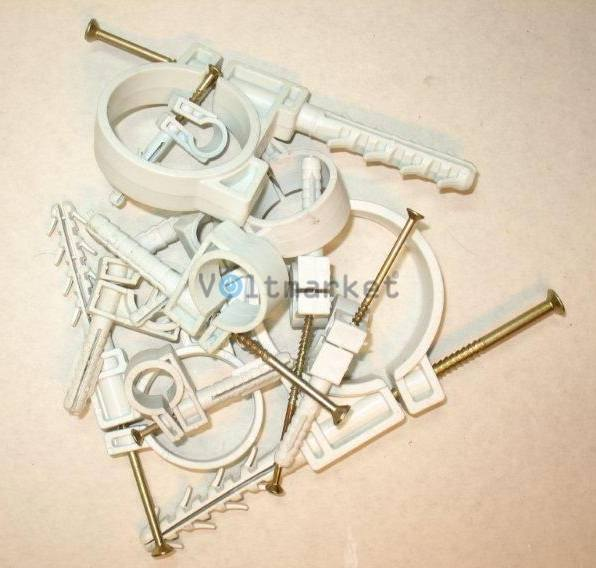 Обойма для труб и кабеля диам 15-16 с ударным шурупом