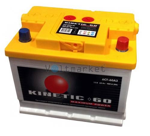 Автомобильная стартерная батарея KINETIC 6СТ-60 480А M2 R+