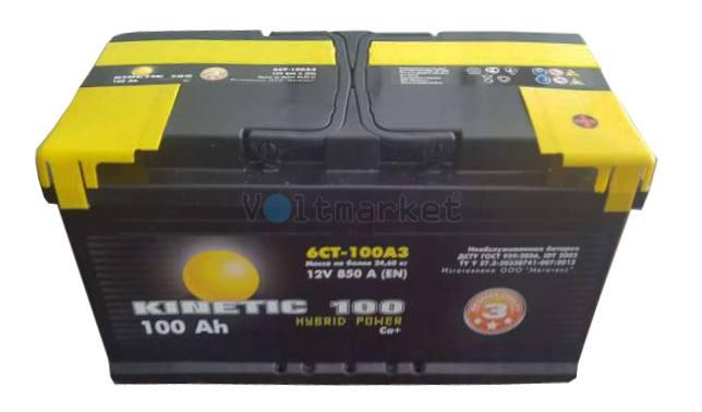 Автомобильная стартерная батарея KINETIC 6СТ-190 1100А M3 L+