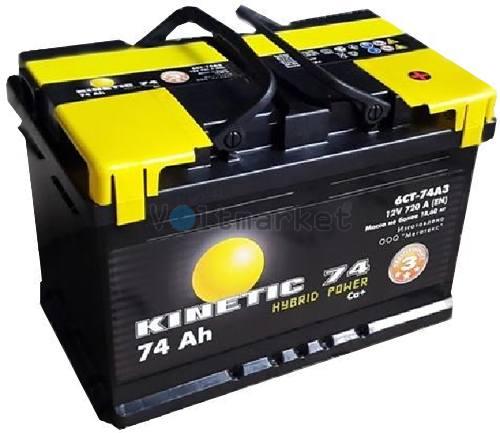 Автомобильная стартерная батарея KINETIC 6СТ-74 720А M3 L+