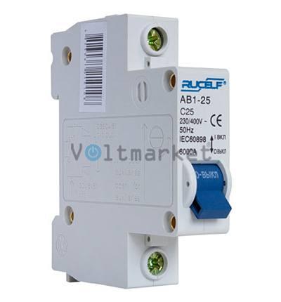 Автоматический выключатель RUCELF AB1-1P-25A