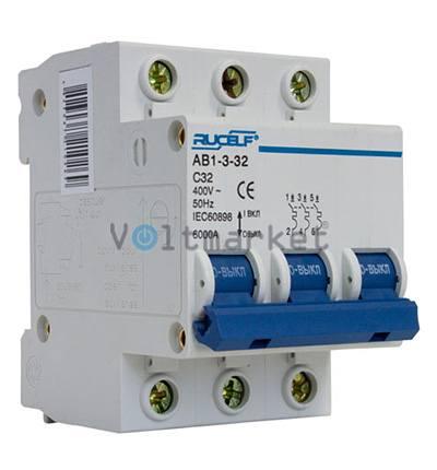 Автоматический выключатель RUCELF AB1-3P-32A