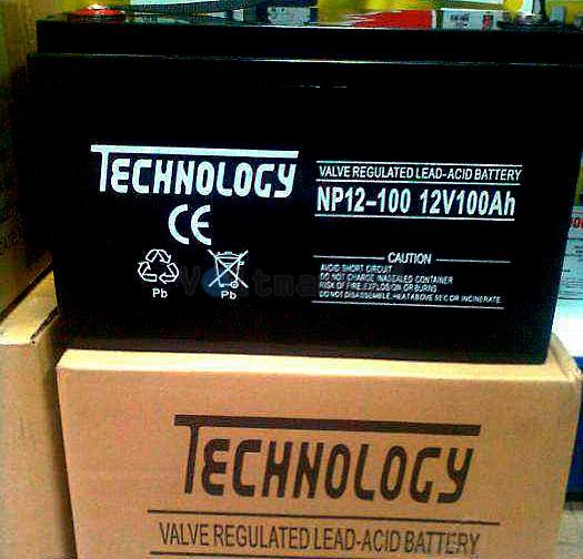 Герметичные свинцово-кислотные аккумуляторные батареи TECHNOLOGY NP12-100 GEL