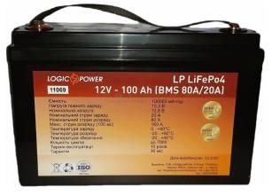 LogicPower LiFePo-4 12V-100 Ah BMS 80A/40A